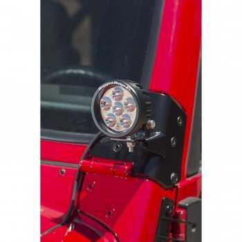 Support de phare pour pare brise avec phare a LED ROND Jeep Wrangler TJ 97-06