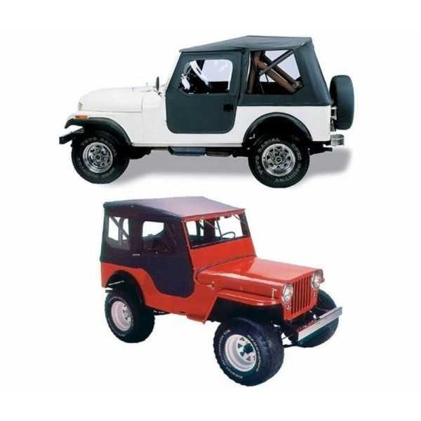 Capotage Bestop noir Tigertop Jeep CJ5 1955-1975 et M38A1 1951-1962