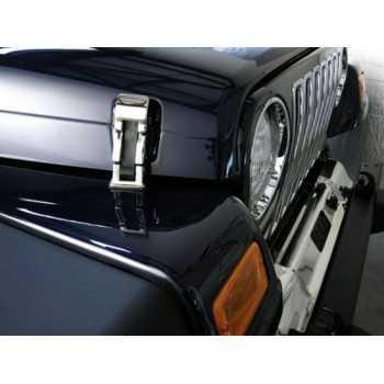 Attache capot inox Jeep Wrangler TJ 1997 à 2006