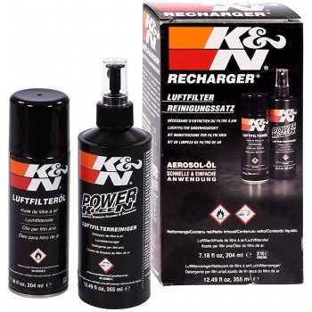 K&N Voitures et moto nettoyant 355ML + Aérosol huile 204ML pour filtre à air