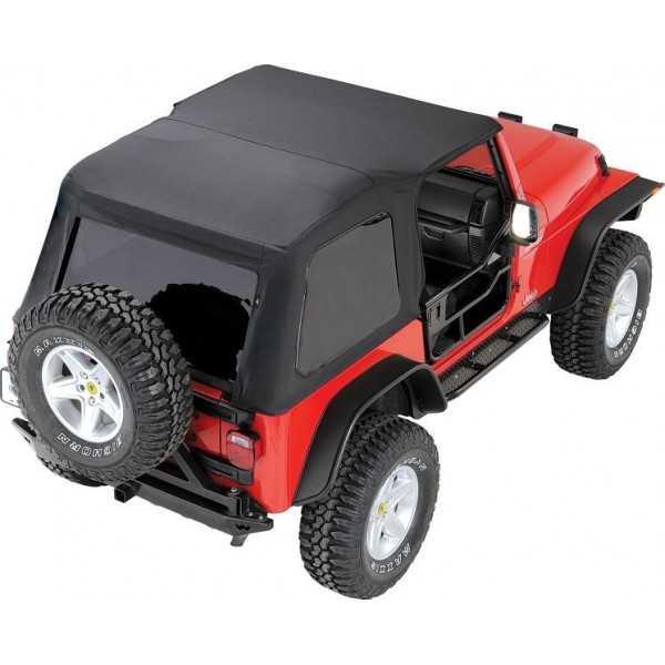 vue de dessus du Capotage trektop Bestop® noir Jeep Wrangler TJ 97-06