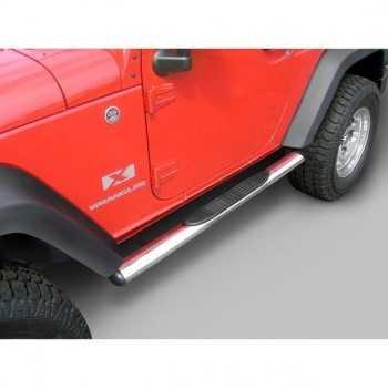 Marche pieds inox ovale Jeep Wrangler JK 2007-2018 2 portes