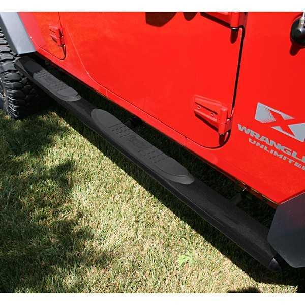Marche pieds noir ovales Jeep Wrangler JK 4 portes 2007-2018