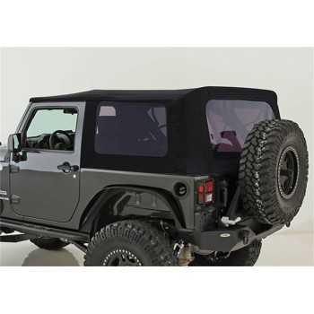 Capotage de remplacement Smittybilt noir avec vitres latérales teintées Jeep JK 2 portes 2007-2009